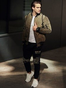 Stylizace č. 330 - hodinky, bomber, tričko s dlouhým rukávem, džínové jogger kalhoty