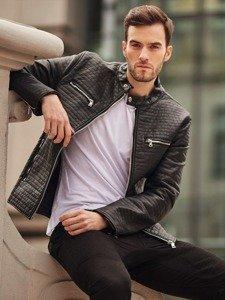 Stylizace č. 399 - koženková bunda, klasické tričko, džíny