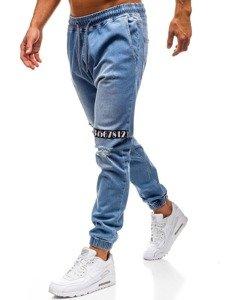 Světle modré pánské džínové jogger kalhoty Bolf 2031
