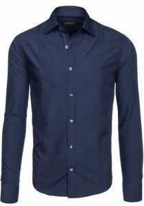 Tmavě modrá pánská elegantní košile s dlouhým rukávem Bolf 4705G