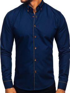 Tmavě modrá pánská elegantní košile s dlouhým rukávem Bolf 6964