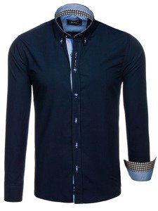 Tmavě modrá pánská elegantní košile s dlouhým rukávem Bolf 8840