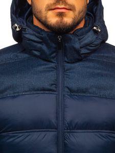 Tmavě modrá pánská prošívaná sportovní zimní bunda Bolf AB72