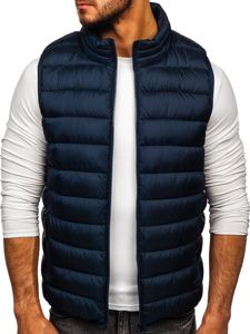 Tmavě modrá pánská prošívaná vesta s kapucí Bolf B2679