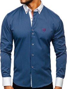 Tmavě modrá pánská proužkovaná košile s dlouhým rukávem Bolf 9717
