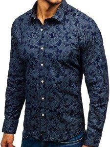 Tmavě modrá pánská vzorovaná košile s dlouhým rukávem Bolf 210G17