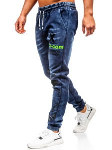 Tmavě modré pánské džínové jogger kalhoty Bolf KK1061