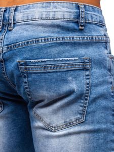 Tmavě modré pánské džínové kraťasy Bolf KG3818