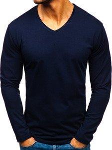 Tmavě modré pánské tričko s dlouhým rukávem bez potisku Bolf 172008