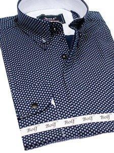 Tmavě modro-bílá pánská vzorovaná košile s dlouhým rukávem Bolf 7715