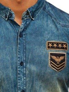 Tmavě modro-šedá pánská džínová košile s dlouhým rukávem Bolf 0992
