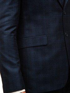 Tmavě modrý pánský kostkovaný oblek s vestou Bolf 17100