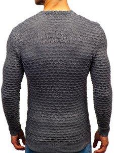 Tmavě šedý pánský svetr s výstřihem do V Bolf 6005
