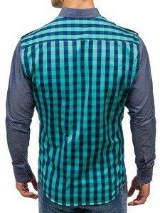 Tyrkysová pánská kostkovaná košile s dlouhým rukávem Bolf 7704