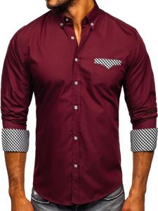 Vínová pánská elegantní košile s dlouhým rukávem Bolf 4711