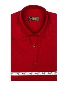 Vínová pánská elegantní košile s krátkým rukávem Bolf 7501