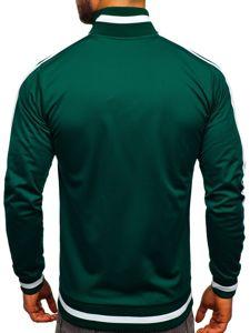 Zelená pánská mikina na zip bez kapuce retro style Bolf 2126