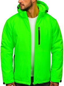 Zeleno-neonová pánská zimní lyžařská sportovní bunda Bolf HH011
