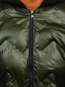 Zelený pánský zimní bomber s kapucí Bolf 6590