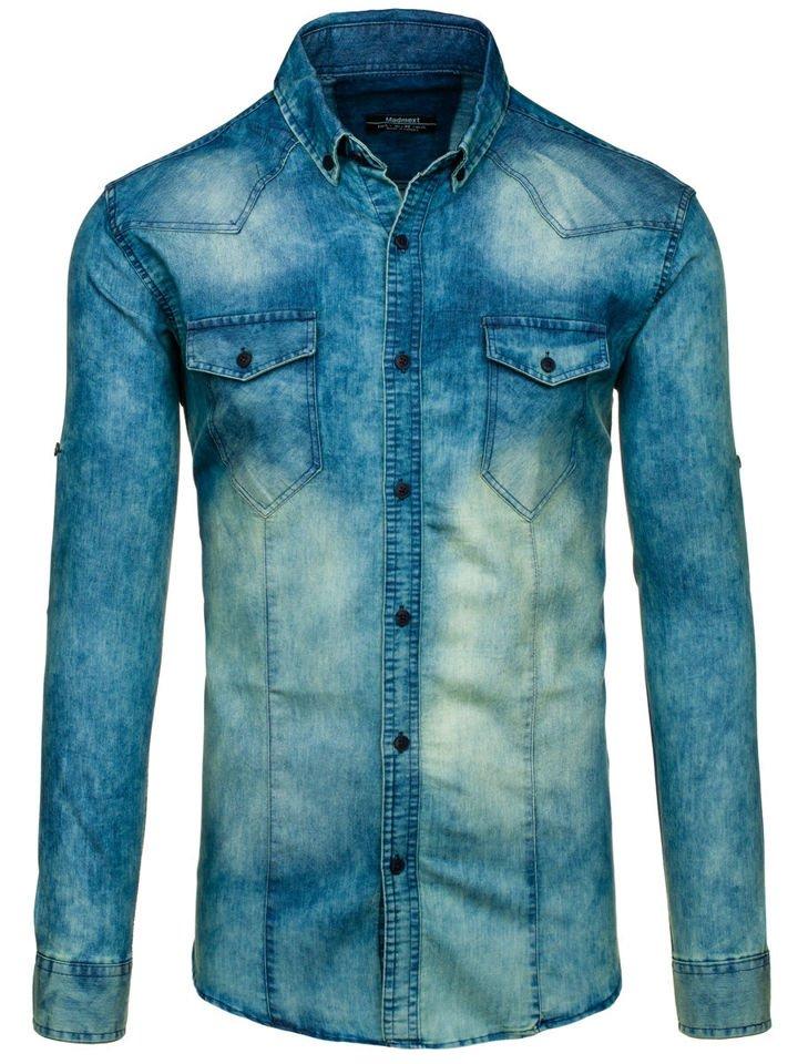Tmavě modro-šedá pánská džínová košile s dlouhým rukávem Bolf 0895 c50d789f6f