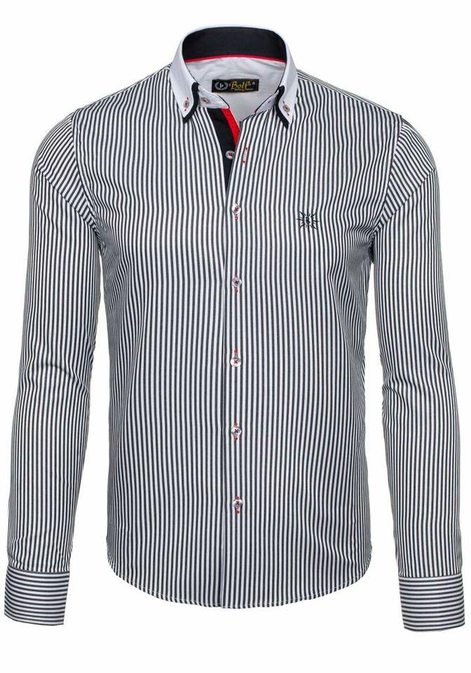Pánská košile BOLF 5758 bílo-černá 677341de26