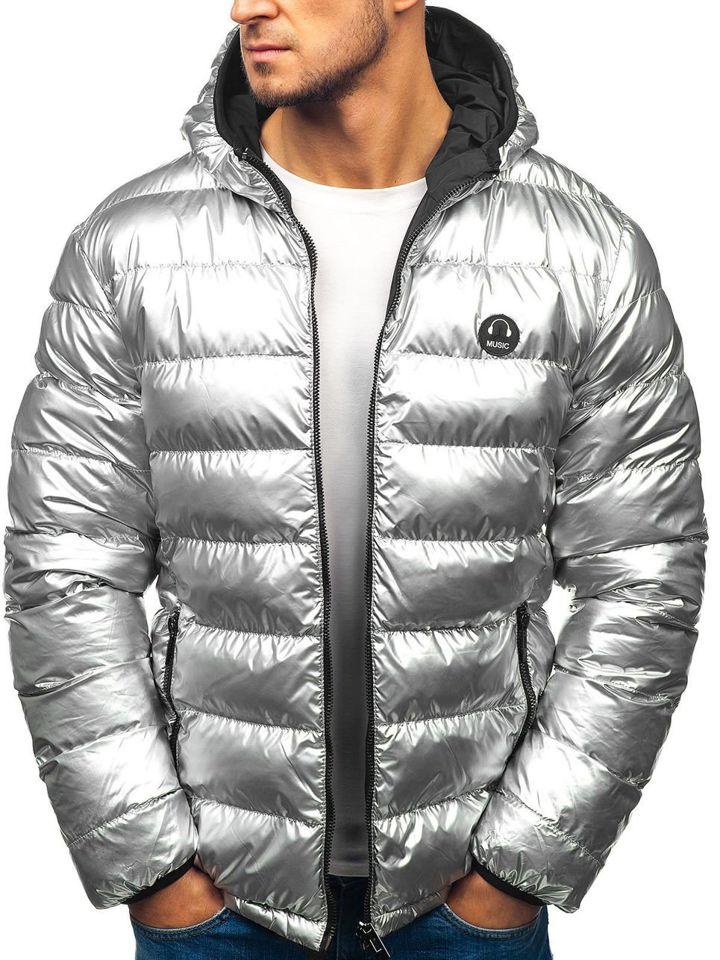 850b7b1ea57 Stříbrno-černá pánská zimní oboustranná bunda Bolf 4790