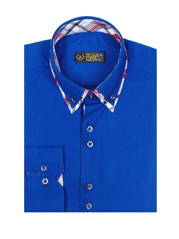 Modrá pánská elegantní košile s dlouhým rukávem Bolf 4704-1 58c0cba547