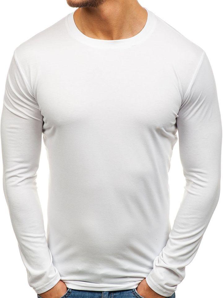 Bílé pánské tričko s dlouhým rukávem bez potisku Bolf 135 bec9339c59