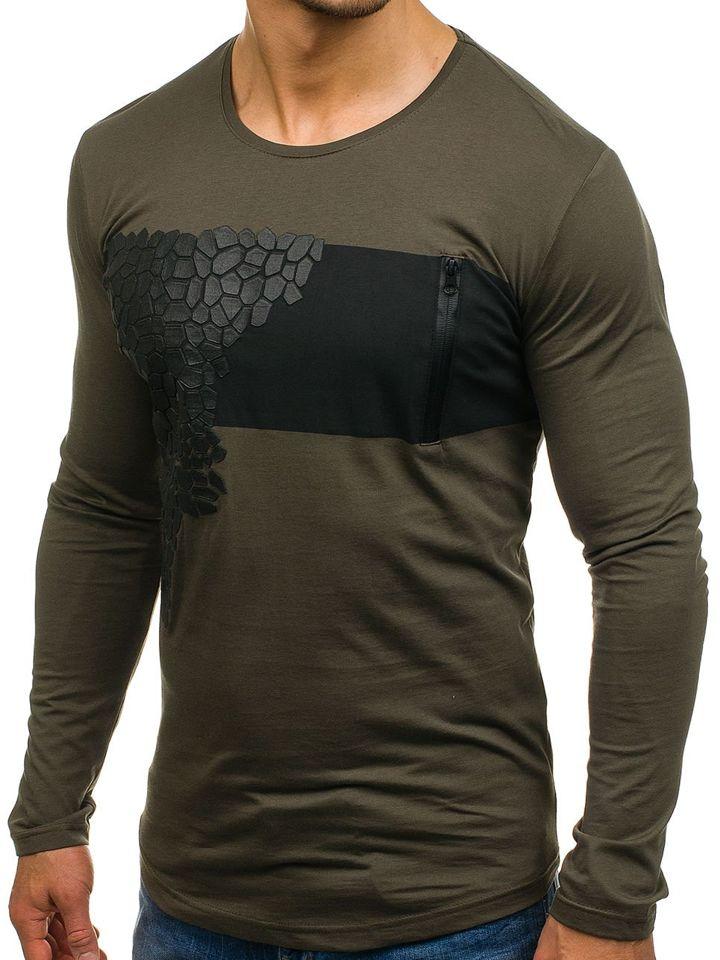0dc5e7f30d6 Zelené pánské tričko s dlouhým rukávem s potiskem Bolf 171333
