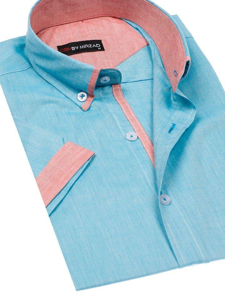 Tyrkysová pánská elegantní košile s krátkým rukávem Bolf 5200 4d3a73986c