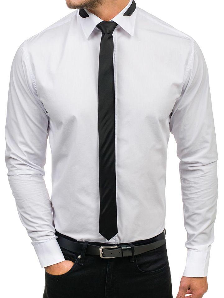a4b06a914de Pánská bílá elegantní košile s dlouhým rukávem Bolf 4714-1