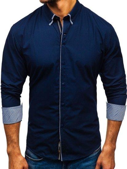 Tmavě modrá pánská elegantní košile s dlouhým rukávem Bolf 2701-1