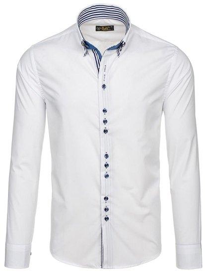 Bílá pánská elegantní košile s dlouhým rukávem Bolf 4703